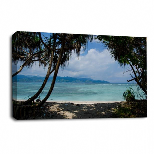 Seascape Tropical Wall Art Picture Palm Tree Island Beach Print